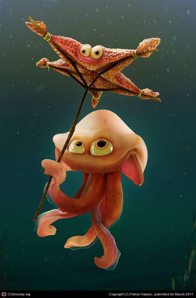 3d-maya-mentalray-ps-zbrush-starfish-umbrella-patryk-habryn