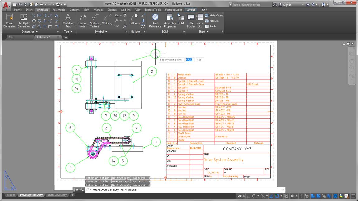 autodesk auto cad mechanical associative balloons bills of materials large