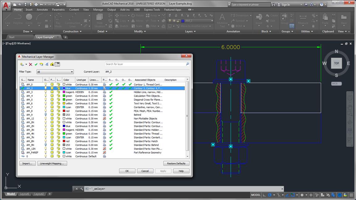 autodesk auto cad mechanical layer management large
